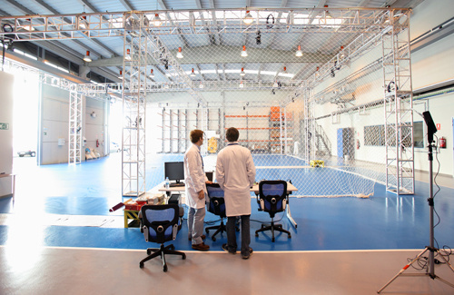 Test bed or indoors testing area for unmanned aerial and land systems
