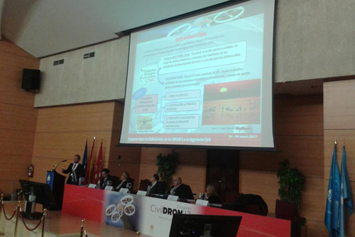Our Center presented its experience in environmental monitoring with UAS at the CivilDron 2017 Congress