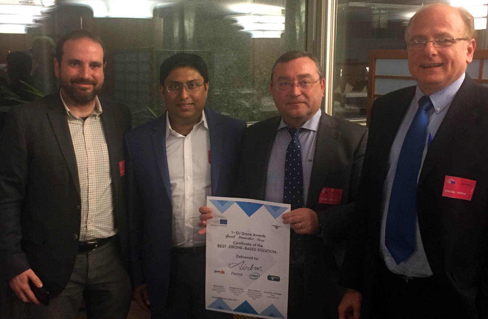 """FADA-CATEC receives the Special Prize for Innovation of the """"EU Drone Awards"""" for an application for the use of UAS in aeronautical plants"""