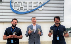 Pieces designed and manufactured by CATEC in 3D printing traveled to space on Airbus' EUTELSAT QUANTUM satellite